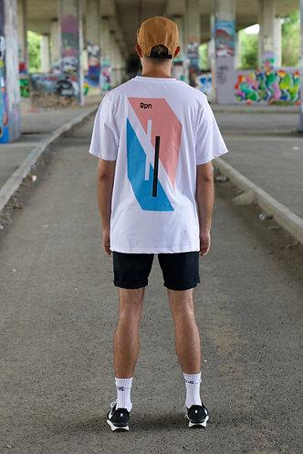 oversized t-shirt in white with Hyper Geo model 2 print