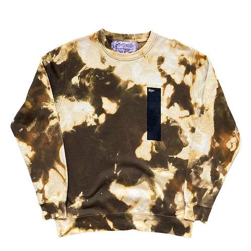 Khaki strip print sweater with acid wash rework