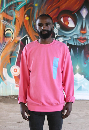 strip print sweater in hot pink with light blue print