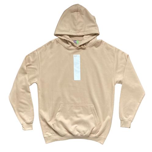 strip print hoodie in beige with white print