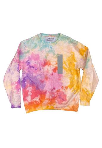 strip print sweater with tie dye rework