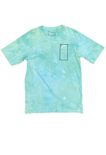 oversized t-shirt in tie dye with frame print