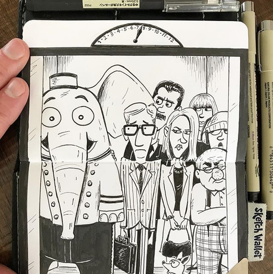 """Hi, what floor!""...(#sketchwallet doodl"