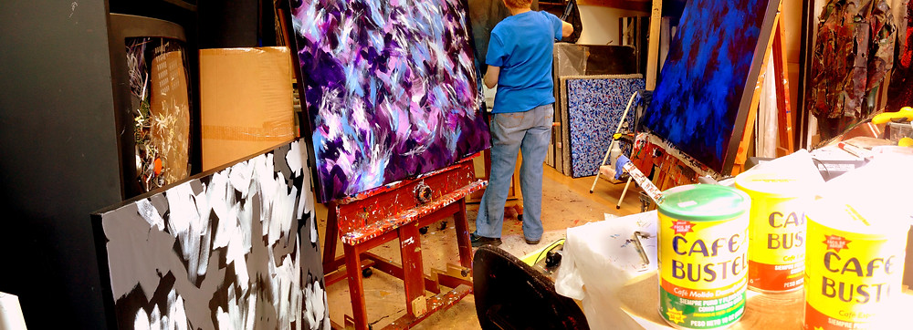 Working hard in the studio this week, 3 paintings going at a time!