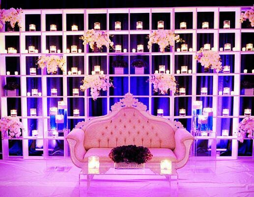 Bride and groom seating couch