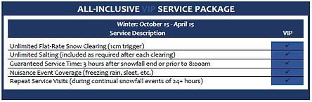 Snow Removal Service VIP Package Price