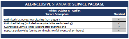 Snow Removal Service Standard Package Price