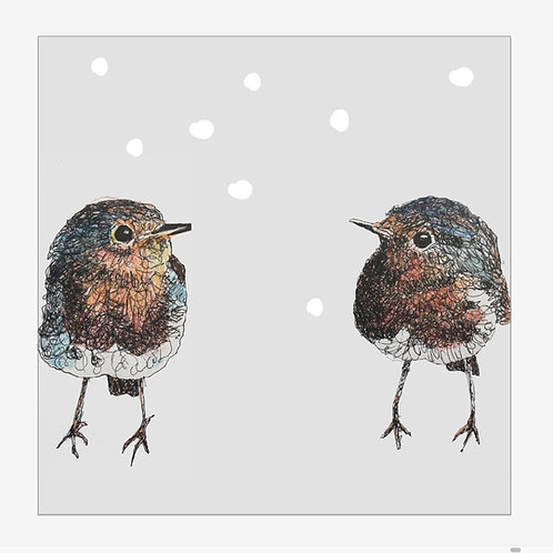 5 x Two Robins Christmas Card