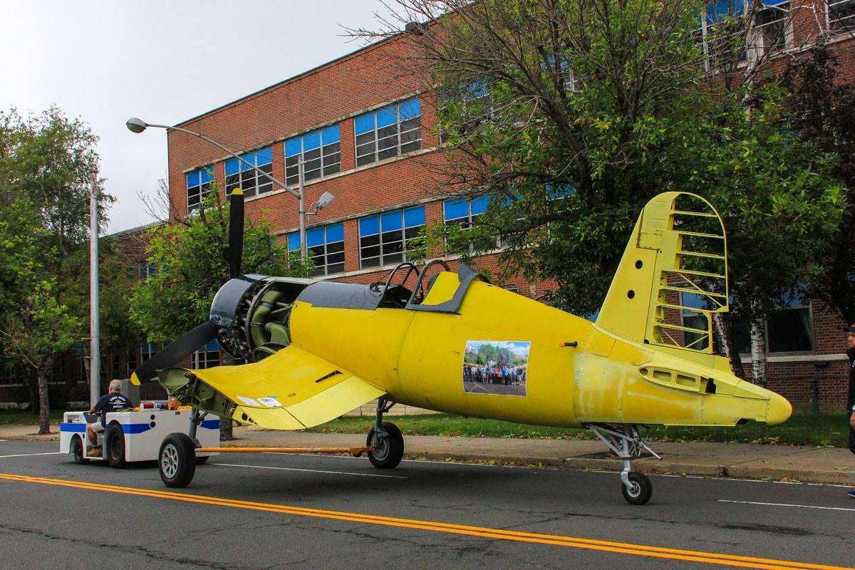 In front of the Vought Factory