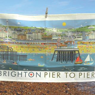 Brighton Pier to Pier tea towel