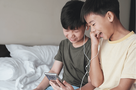 Two boys on video call
