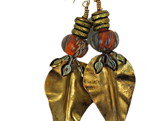 Brass Leaves & Glass Beads Earrings