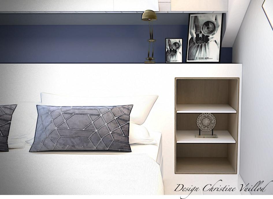 3D Détail meuble tête de lit