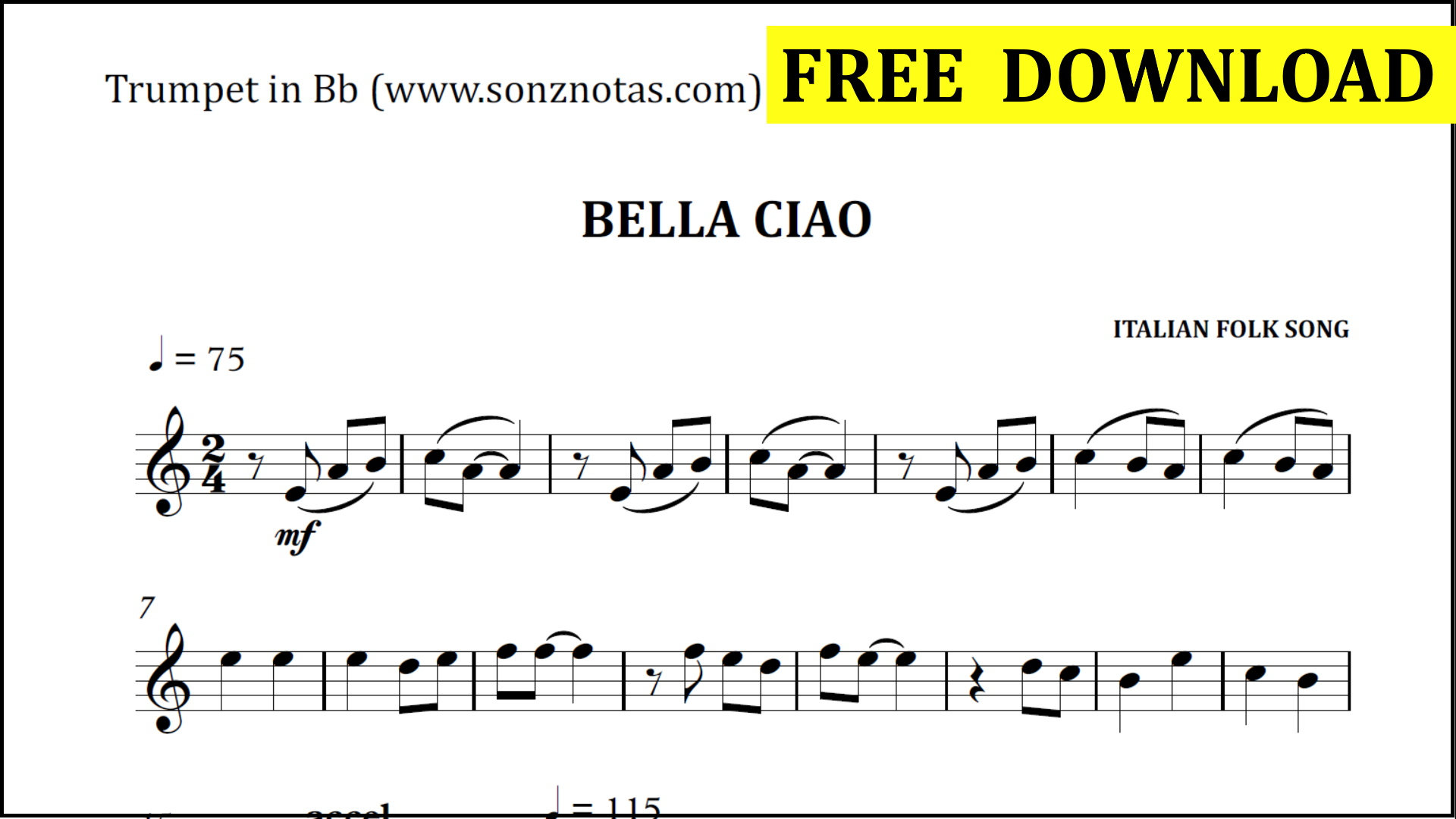 Bella Ciao   Easy Trumpet in Bb   Sheet Music   Free Download   SONZNOTAS