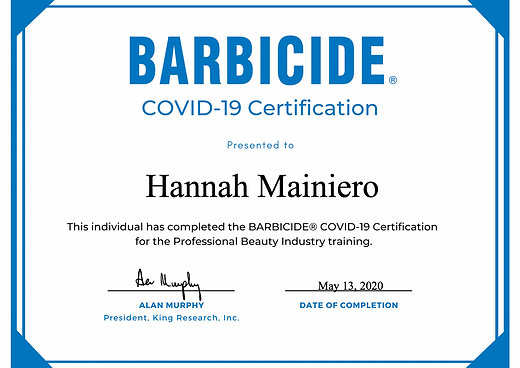 Hannah covid barbicide certificate.png