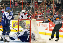 Future NHLer Tyler Graovac scores in an Ontario Hockey League game between the Sudbury Wolves and Ottawa 67's.