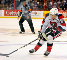 Future NHLer Cody Ceci goes for a skate during an Ontario Hockey League game between the Sudbury Wolves and Ottawa 67's.