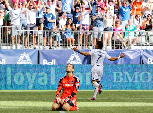 Camilo Sanvezzo scores Vancouver Whitecaps FC's 100th goal in Major League Soccer.