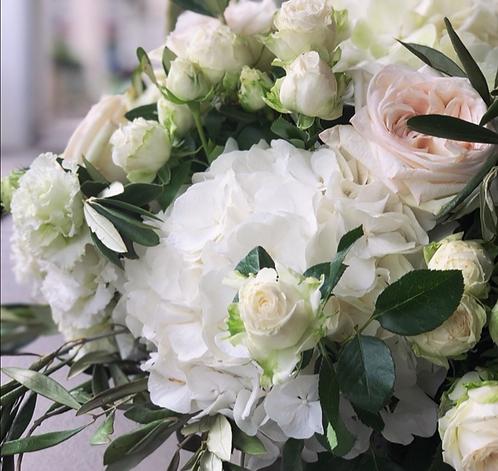 Fleurs de saison - Blanc et vert