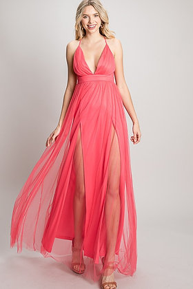 Princess Pleated | Tulle Maxi Dress
