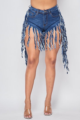 Feel A Way   Fringe Denim Shorts