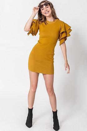 Ring The Alarm | Mustard Bell Sleeve Dress