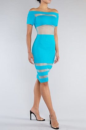 Mesh With Me | Turquoise Midi Dress