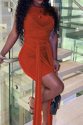 Mixed Up   Orange Mini Dress