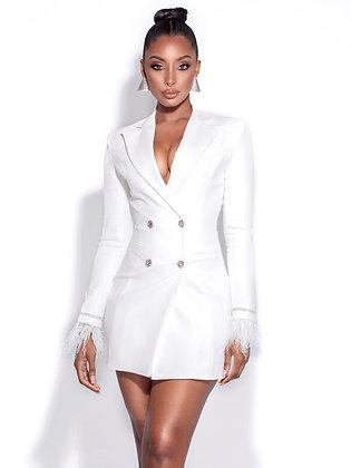 The Classy Type   White Blazer Dress