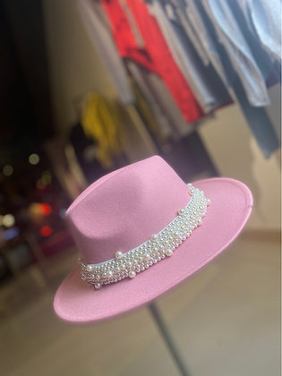 Pearl Ribbon Fedora Hat