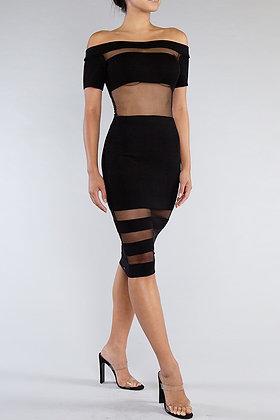 Mesh With Me | Black Midi Dress