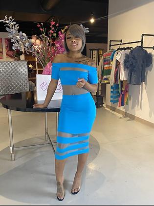 Mesh With Me | Turquoise Midi Dress