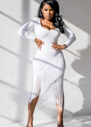 Dance With Me | White Fringe Dress