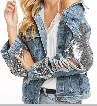 Rich And Rare   Denim Sequins Jacket