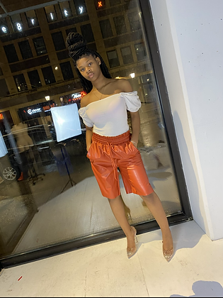 BelieveThe Hype | Rust Leather Shorts