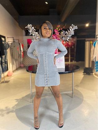 Cali | Gray Corsett Mini Dress
