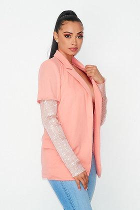 Shimmy | Peach Rhinestone Detail Blazer