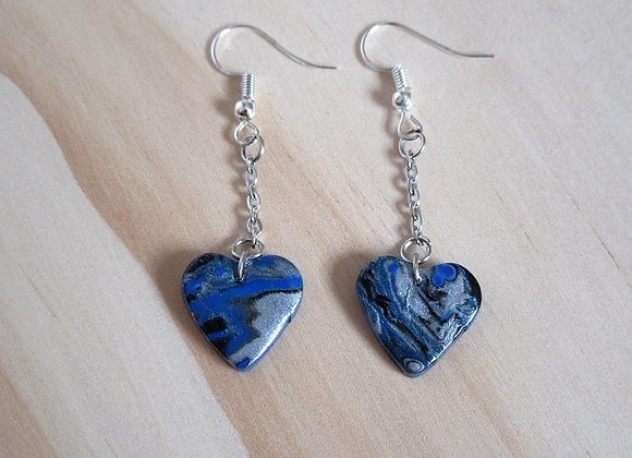 Boucles d'oreilles pendantes cœurs