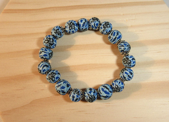 Bracelet avec perles rondes aux couleurs marines