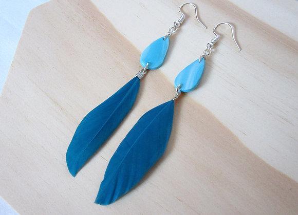 Boucles d'oreilles avec plumes bleues