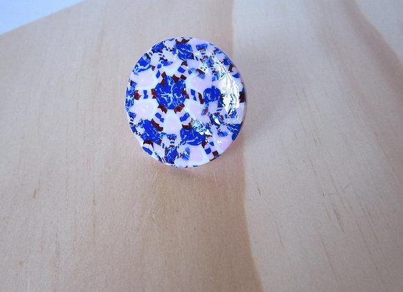 Bague abstraite bleue, rose et cuivre