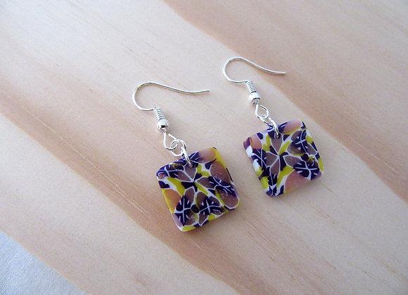 Boucles d'oreilles carrée aux couleurs d'une orchidée