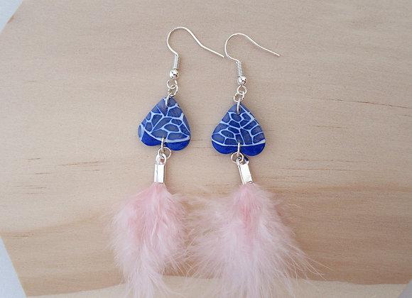 Boucles d'oreilles avec plumes roses