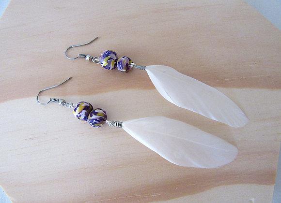 Boucles d'oreilles avec plumes