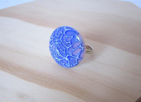 Bague léopard bleu et rose pastel