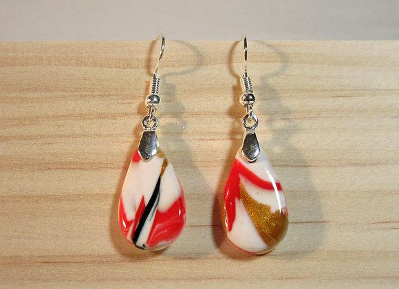 Boucles d'oreilles aux couleurs chaleureuses