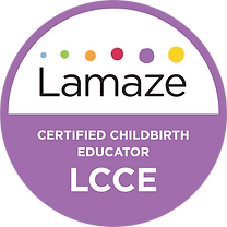 Lamaze Certified Childbirth Educator logo shows internationally recognized and accredited prenatal education qualification to teach evidence-based information