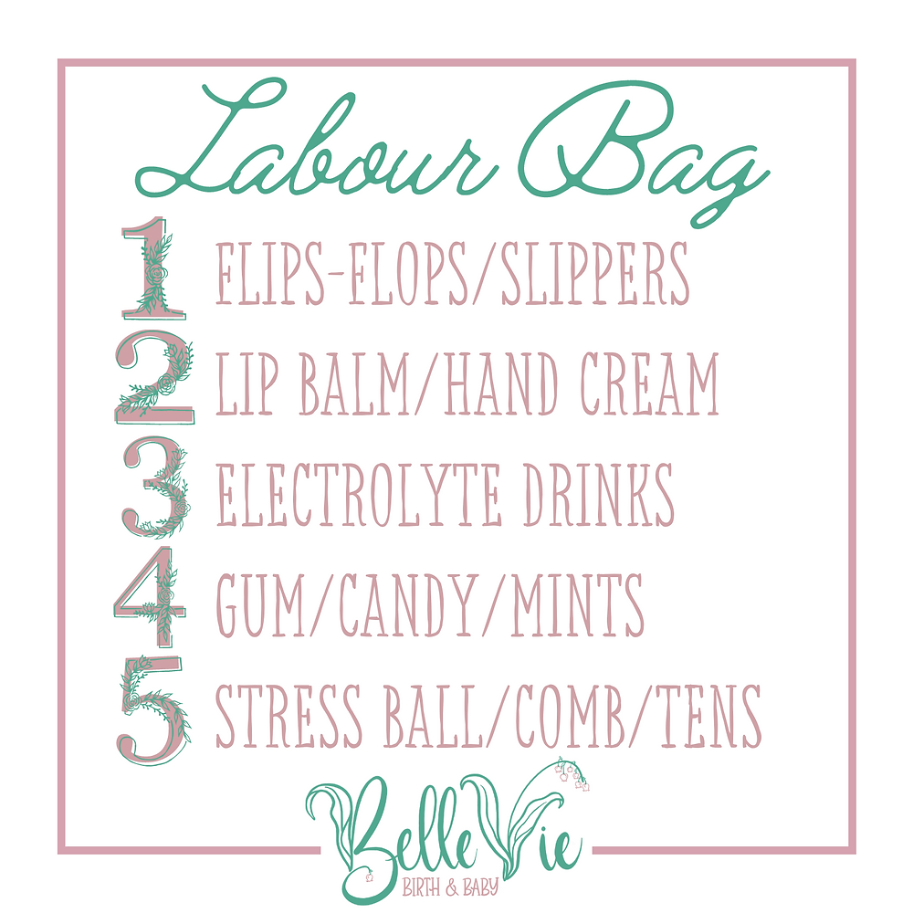 Pack flip-flops, slippers, lip balm, hand cream, electrolyte drinks, gum, candy, mints, stress ball, comb, TENS machine for your labor/labour and birth