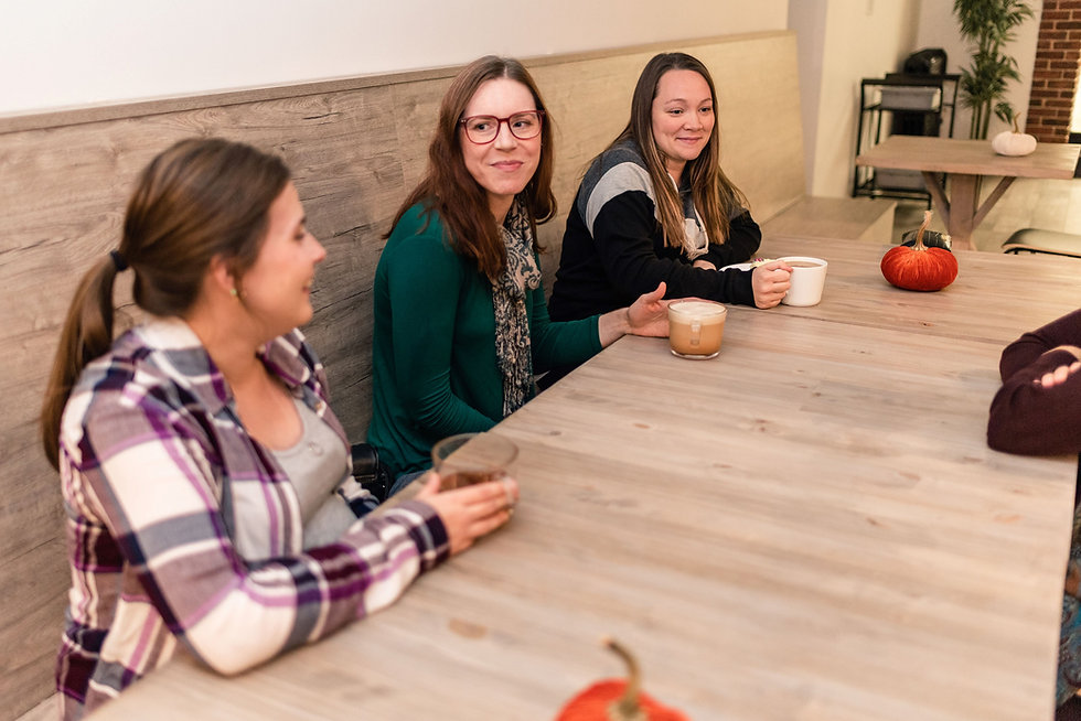 Perinatal Pregnancy Postpartum social support at a cafe with expectant and new parents to help them connect and share the ups and downs in Sydney, Cape Breton, Nova Scotia, Canada