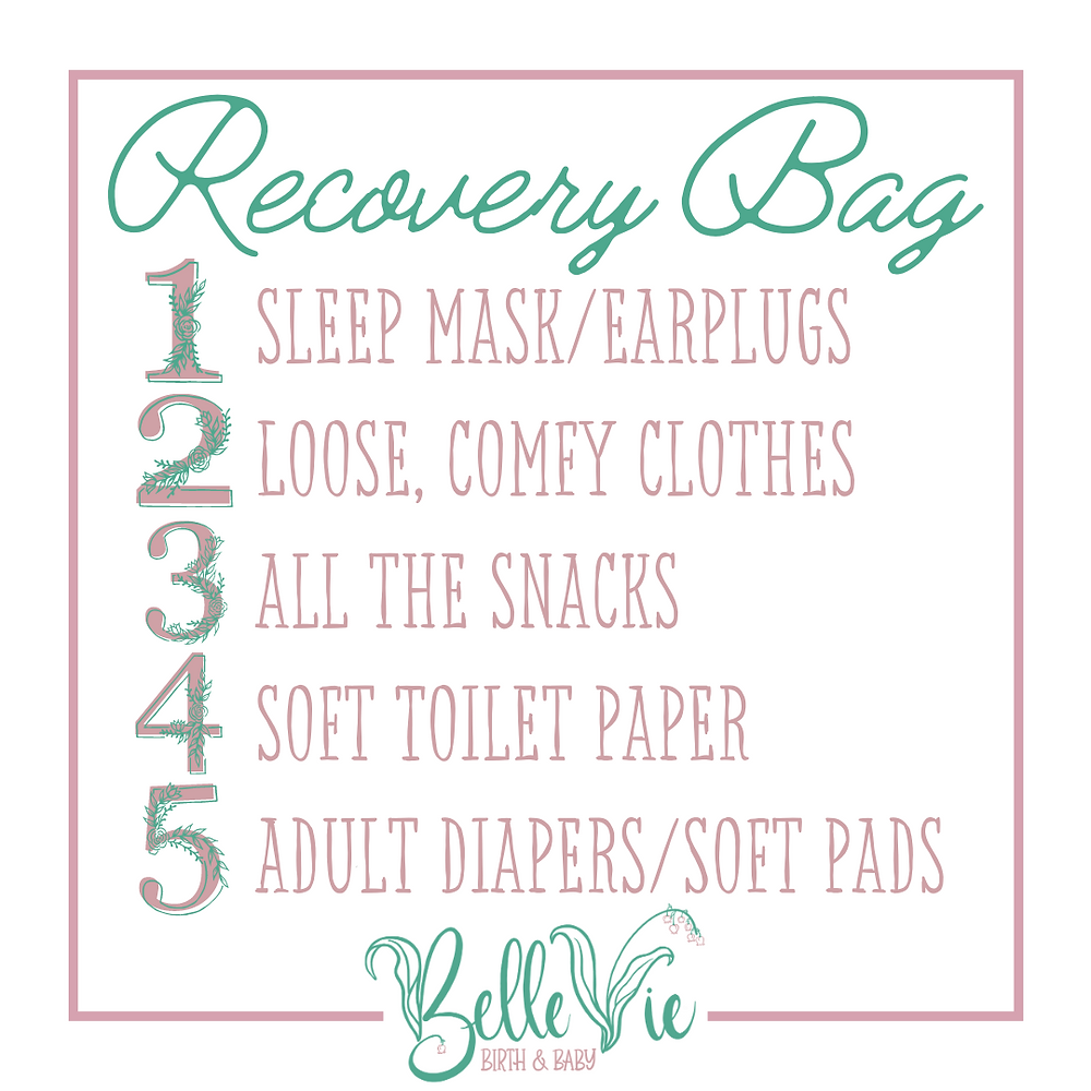 Pack a sleep mask, earplugs, loose comfy clothes, all the snacks, soft toilet paper, adult diapers or soft pads in your recovery bag for your hospital birth
